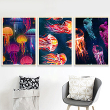 jellyfish Marine Organism Nordic Poster And Prints Wall Art Canvas Painting Pictures For Living Room Bedroom Home Decor