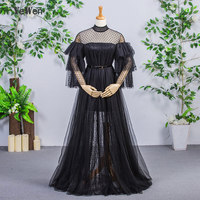 YeWen 2018 new fashion Evening Dress Floor length Belt Black color A line Robe De Roiree party evening gown Long Prom Dress