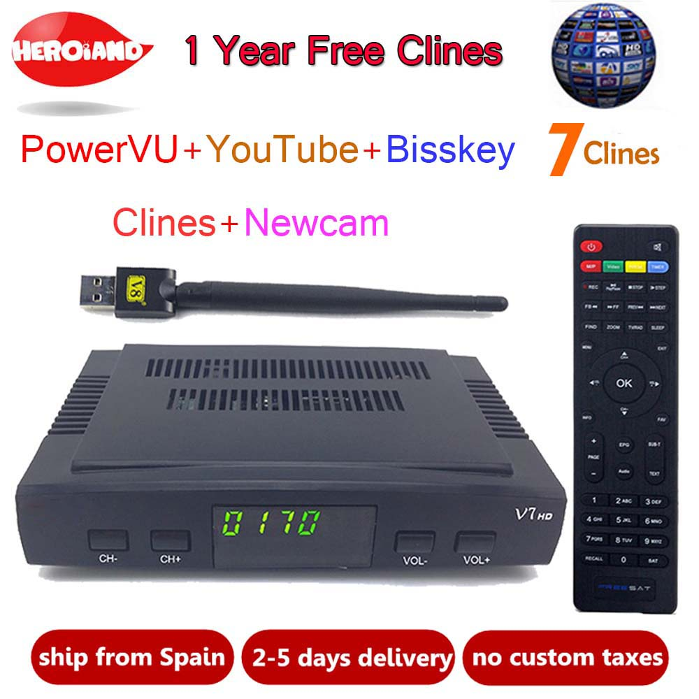 HeroIand1 Anno Europa clines server DVB-S2 V7 HD Recettore Decoder satellitare + USB WIFI 1080 p HD youtube Powervu satellite ricevitore