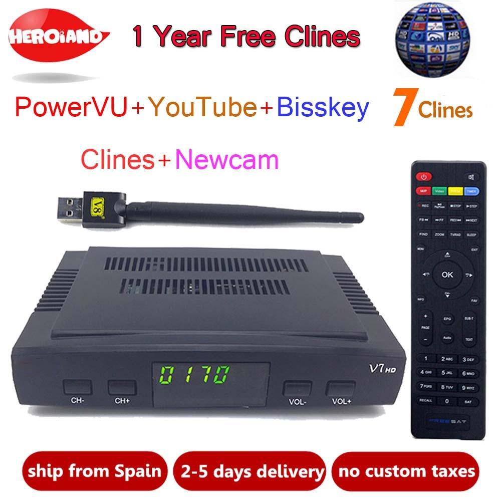 HeroIand1 Year Europe clines server DVB-S2 V7 HD Receptor satellite Decoder+USB WIFI 1080p HD youtube Powervu satellite receiver