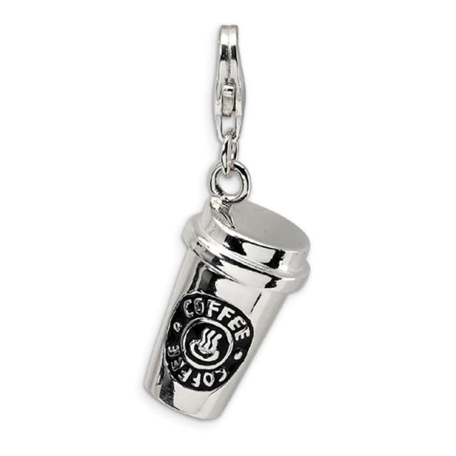 High Polished Silver Plated Coffee Cup DIY Charm