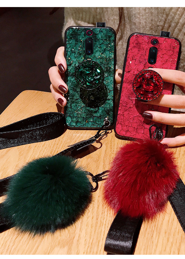 For Xiaomi Mi 9T 9 CC9 CC9E A3 8 Lite 6X A2 5X A1 Note 10 3 Redmi K20 Pro Mix 2 Max 3 Case Cover Glitter Plush Ball Hand Strap