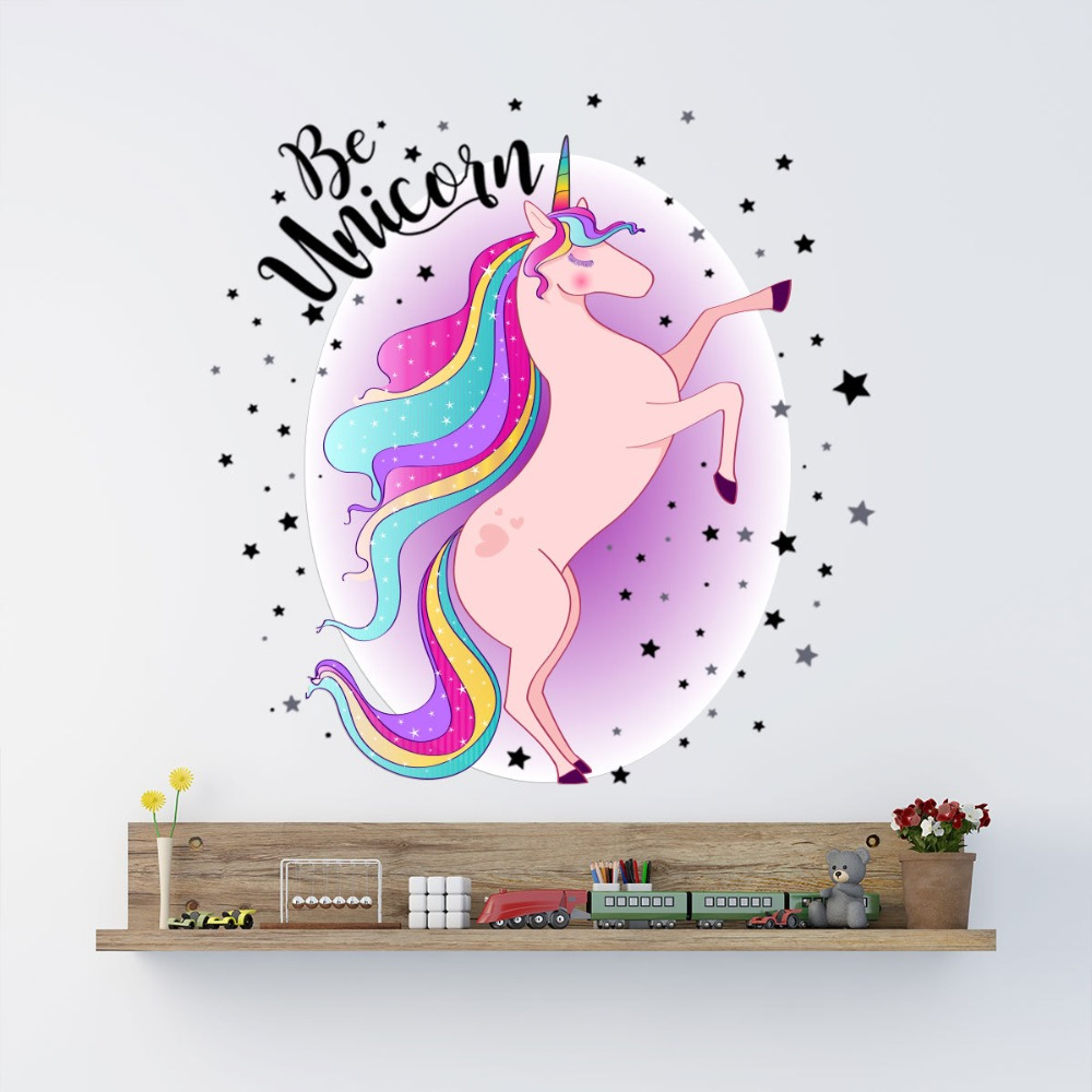3D Cartoon Cute Magic Unicorn Stars Clouds Moon Wall Sticker For Kids Girls Room Nursery Poster Home Decor Art Vinyl Wall Decals