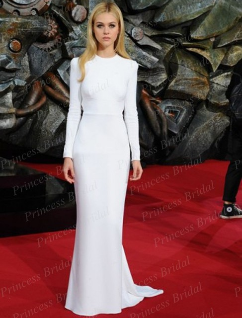 Free Shipping Sexy Mermaid Backless Nicola Peltz White Long Sleeve Celebrity Prom Dress Transformers Berlin Premiere CS041