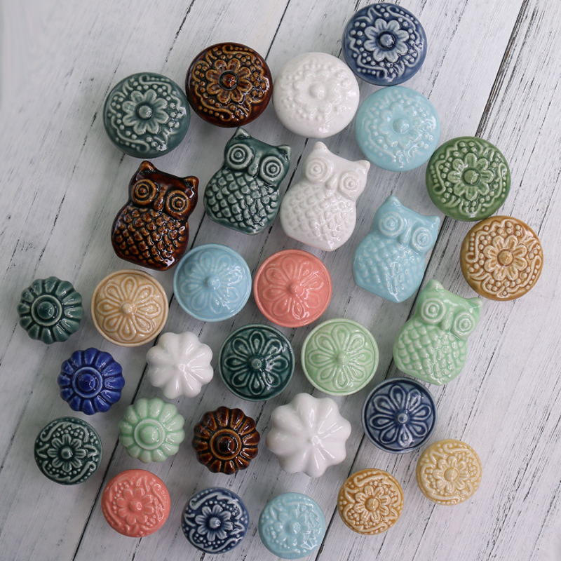 1x Multicolored antique style Assorted Ceramic Knobs for Cabinet Dresser Drawers Handles Ceramic Cabinet Pulls Perillas Buttons