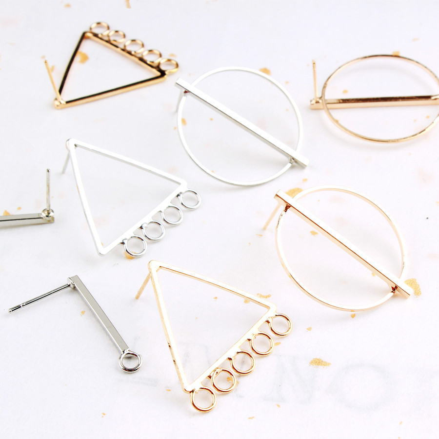 6PCS Copper Round Circle Rod Stud Earrings Triangle Earring Connector For DIY Jewerly Making Findings