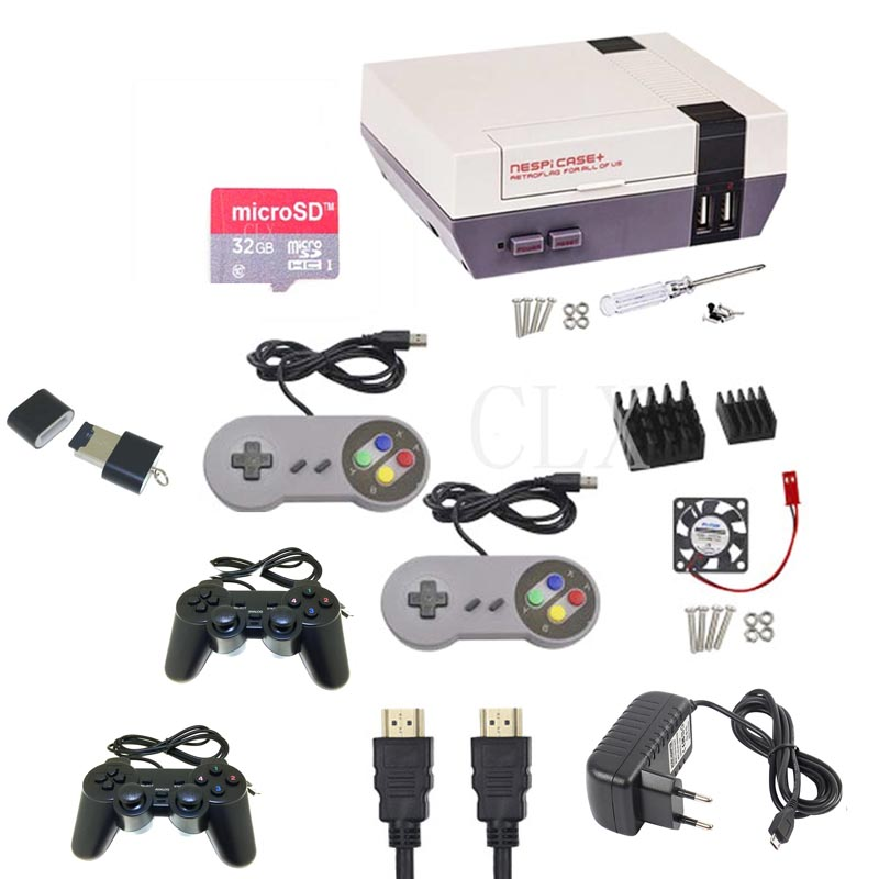 NESPI Case+Plus Retroflag Kit With Fan + 2 Pcs Game Controllers+heatsink+32GB Card+HDMI+power For Raspberry Pi 3/2/B+