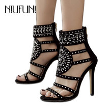 Plus Size 35-43 Rhinestone Gladiator Sandals Open Toe High Heel Sandals Crystal Ankle Wrap Short Boot Women Shoes Black(China)