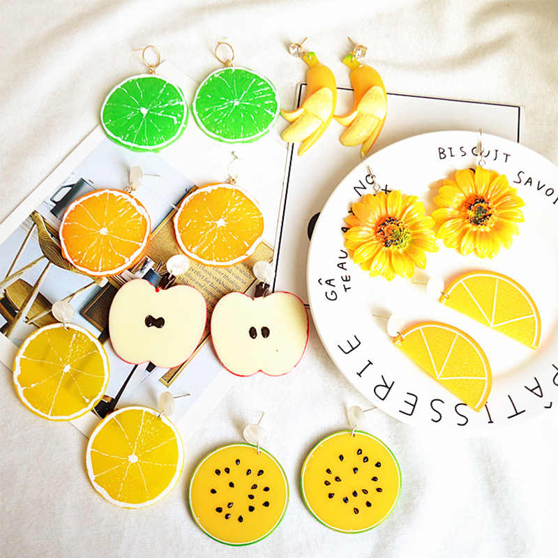 Korean Sweet Girl Charming Fashion Jewelry Earrings for women Fruit Summer Personality Simulation Orange lemon Earrings