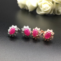 Natural Ruby earrings 4* 6mm luxury ear accessories 925 pure silver marriage engagement wedding