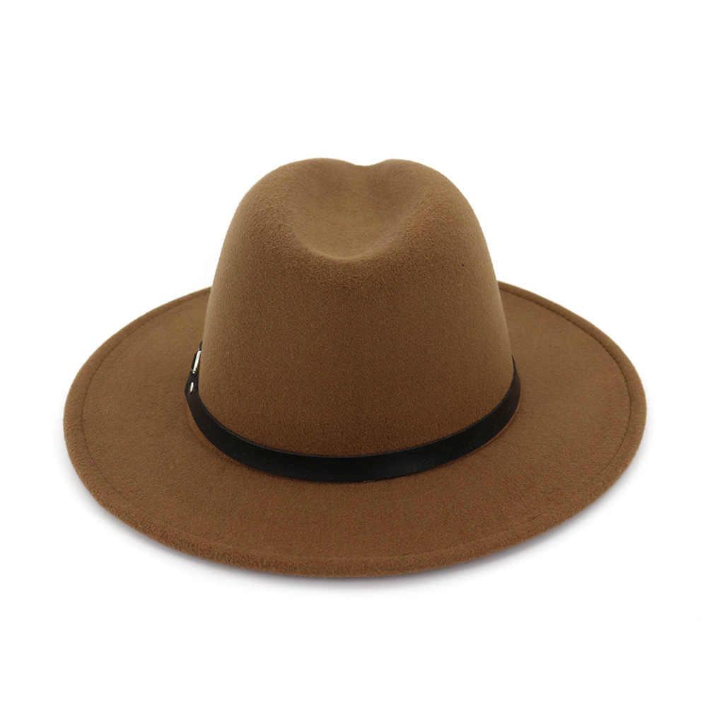 Zld Baru Wanita Pria Wol Vintage Gangster Merasa Topi Fedora dengan Topi Pria Wanita Elegan Musim Dingin Musim Gugur Belt Jazz topi