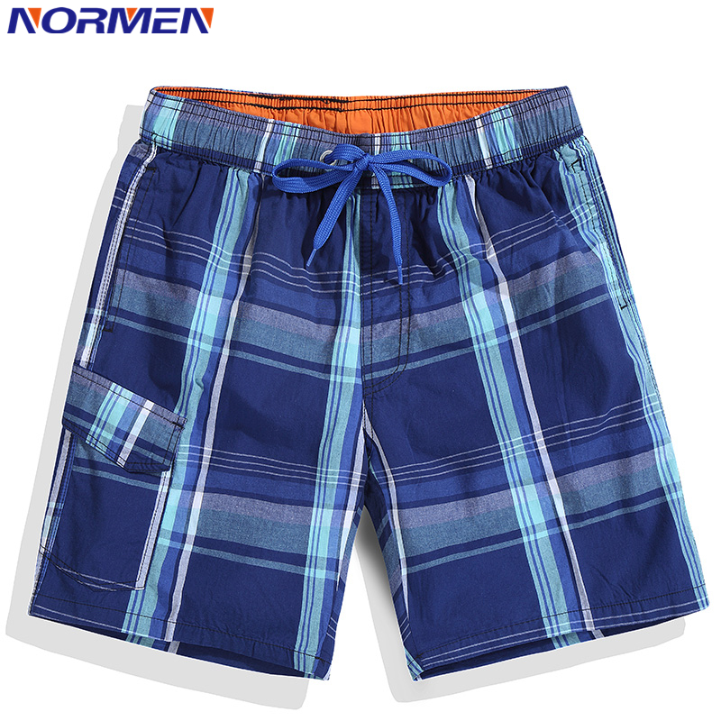 NORMEN 2018 New Arrival Men's Fashion Plaid Board Shorts Cotton Casual Swimwear Short Pants For Man Swimsuit Beach Shorts Hot