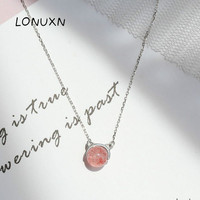 cartoon cat cute 925 Sterling silver Fashion Choker Necklaces Jewelry for Women natural Strawberry Crystal Natural Stone pendant