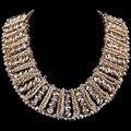 Женщины Моды Сша Большой Роскошный Чистый Ручной Материалы Кристалл Широкий Короткий Ожерелье 5 Цвет НК-01357