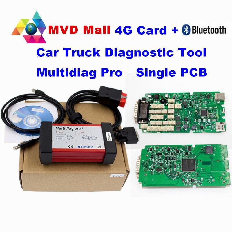 imágenes para 2016 Mejor Calidad TCS CDP Multidiag Pro Con Bluetooth + Verde sola Tarjeta + 4 GB TF Tarjeta Multi-diag Pro R2/R3 Coche Camión escáner