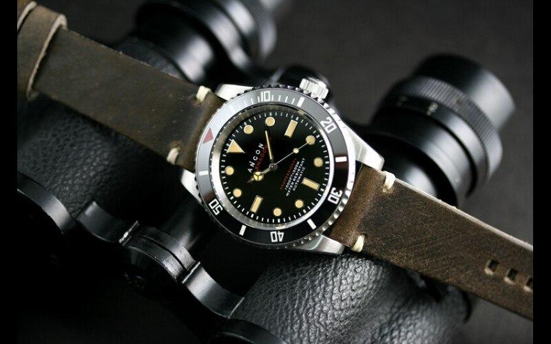 Top grade autentica ancon mare ombra ii 41.5mm SEA203 diving orologio con  cinturino in pelle italiana trasporto libero in Top-grade autentica ancon  mare ... ed999a9075b3