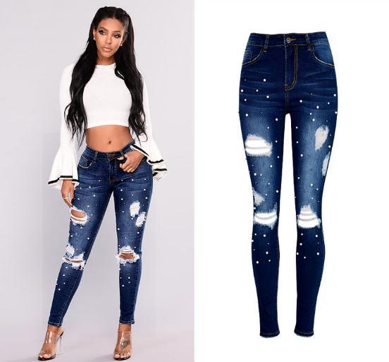 Femme nouveau taille haute Jeans Slim Skinny élastique crayon pantalon femmes perles irrégulière déchiré trou Denim pantalon femmes D157