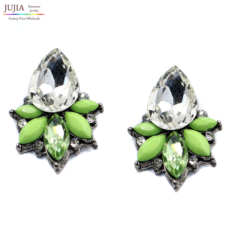 Womens fashion earrings gorgeous New arrival brand sweet metal with gems stud crystal earring for women girls
