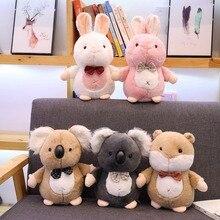 New 1pc Mini Cartoon Rabbit Penguin Hamster Koala Stuffed Animal Toy Doll Cute  Creative Furry Gift Boy Girl Birthday
