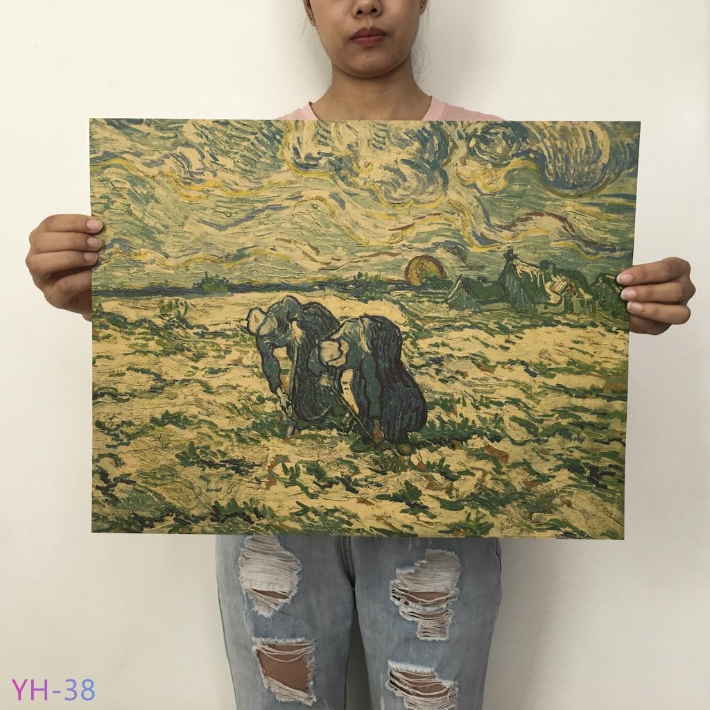 HTB1j4lRX4D1gK0jSZFsq6zldVXaA New Van Gogh Monet oil Poster vintage Classic Kraft Paper Poster Painting Wall Stickers Home Decorative YH-31-42