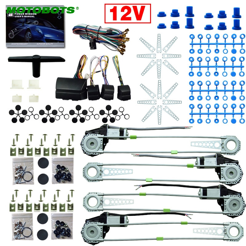 MOTOBOTOS 1Set DC12V Car/Auto Universal 4 Doors Electronice Power Window kits With 8pcs/Set Swithces and Harness