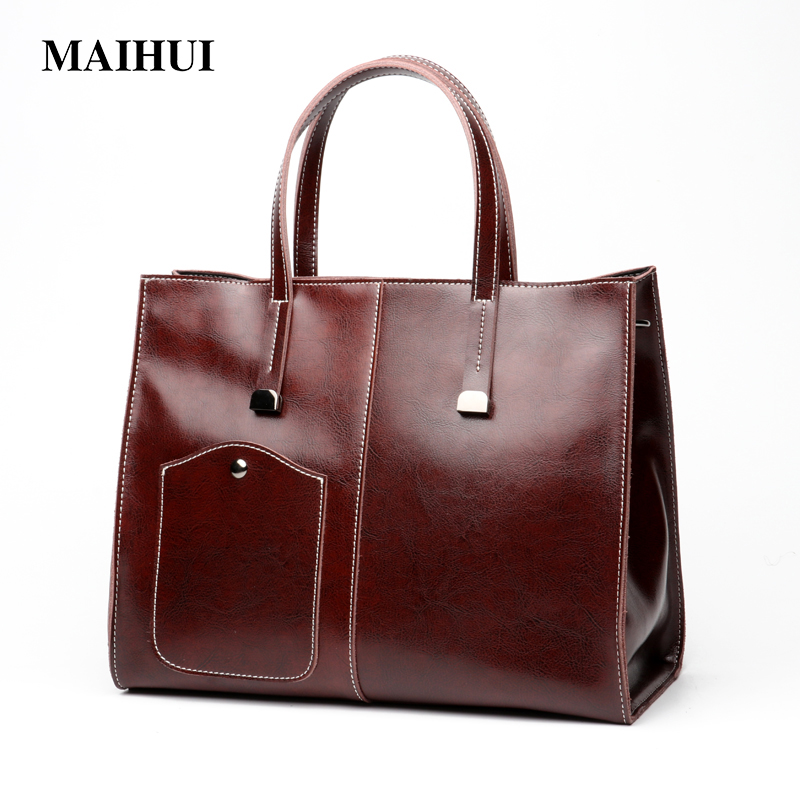 Maihui Women Handbags Genuine Leather Femal Shoulder Bags Cowhide portable shopping bag new Vintage Large Big Capacity Tote bag