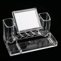 Clear Durable Portable Acrylic Makeup Brushes Display Stand Holder Eyeshadow Comestic Organizer With Mirror