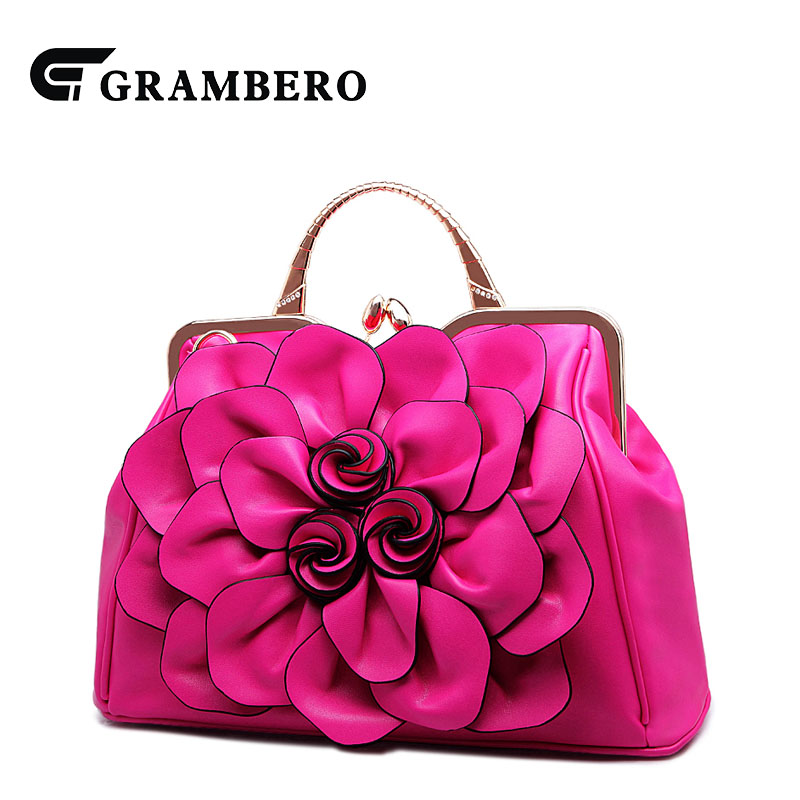 2018 New Style Fashion Handbag Big 3D Flower PU Leather Noble Women Top-handle Bags Lady Banquet Crossbody Shoulder Bag Gifts fashion relief rose flower pattern handbag pu leather genuine leather zipper ring top handle bag lady party shoulder bags gifts