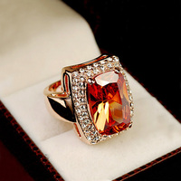 Brilliant Amazing Super Big Champagne Color Stone Ring Square Orange Crystal Ring 18K Gold Plated Cocktail
