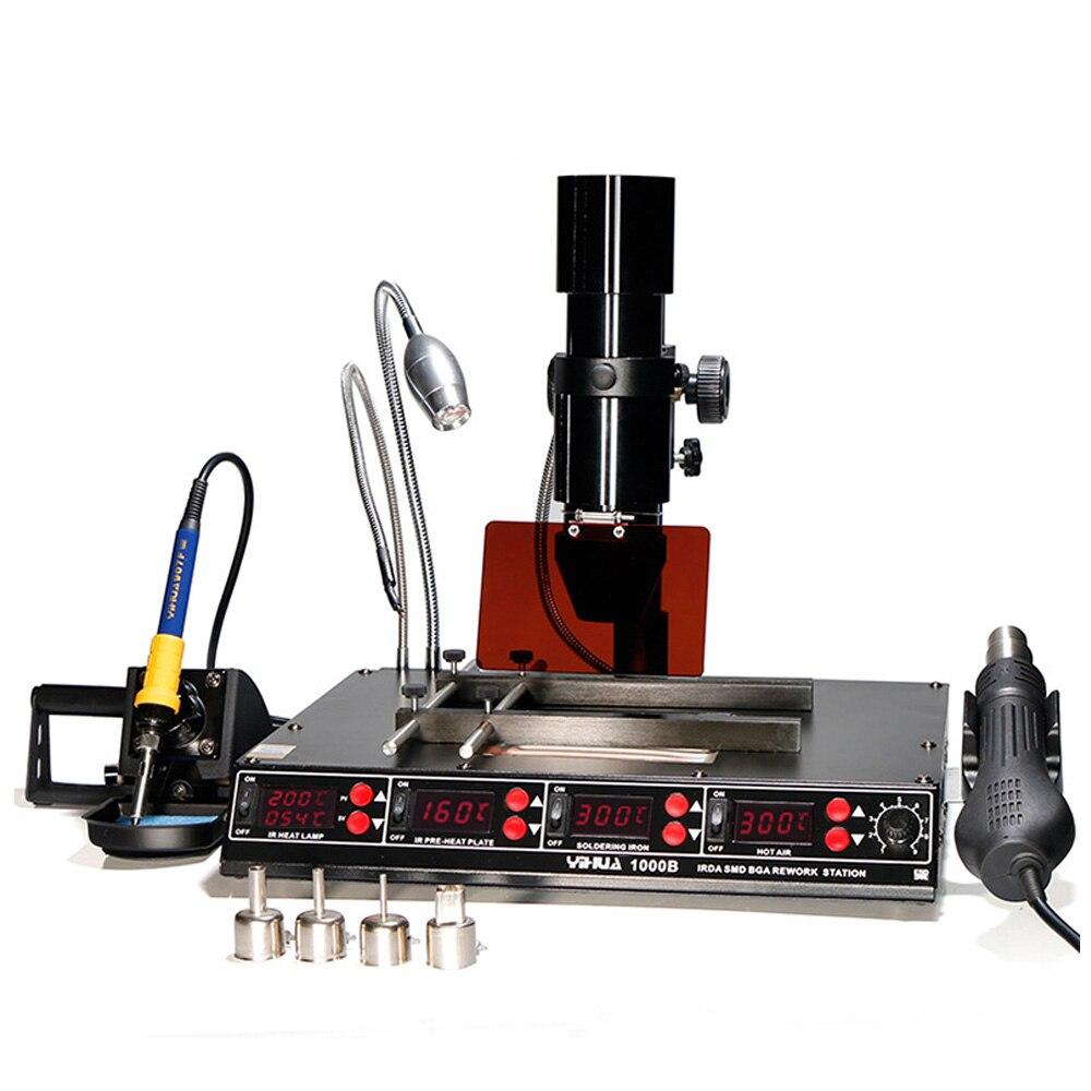 Infrared Bga Rework Station SMD Hot Air Gun 4 Functions in 1 BGA Lead-free Soldering Station BGA Repairing Machine Kit 1000B repairing platform bga rework reballing station hot air gun clamp jig f204