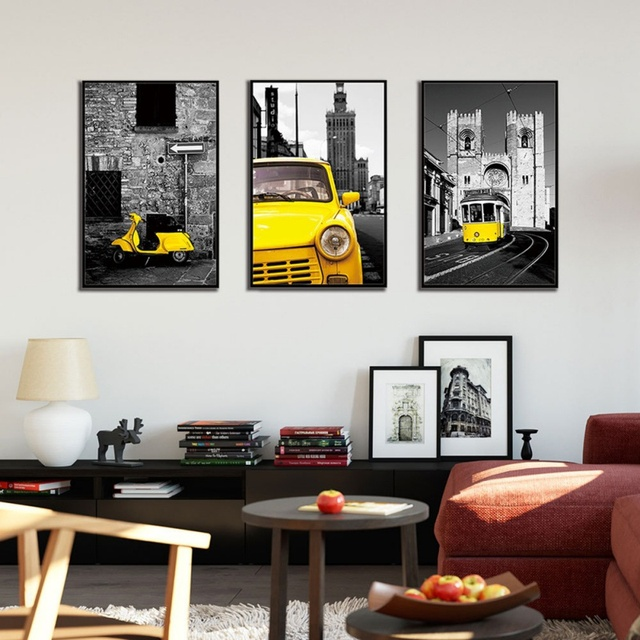 Retro Vehicles Patterned Painting
