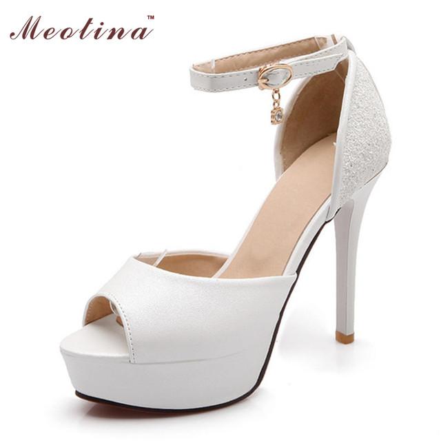 Meotina branco sapatos de casamento das mulheres do dedo do pé aberto tira no tornozelo salto alto Sapatos de Plataforma do partido Sapatos de Noiva Rosa Branca Grande Tamanho 40 43