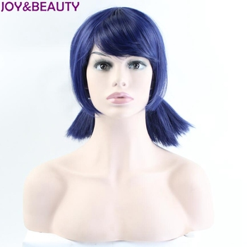 Miraculous Ladybug Wigs Peluca Marinette Girls Women Cosplay Double Ponytail Braids Short Straight Wig Blue Hair 38cm