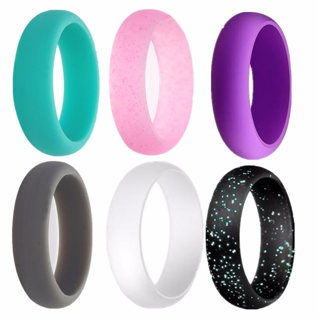 Silicone Ring for Women Thin Stackable Wedding Bands 6 rings/pack,Size 5 to 9 6 Colors black