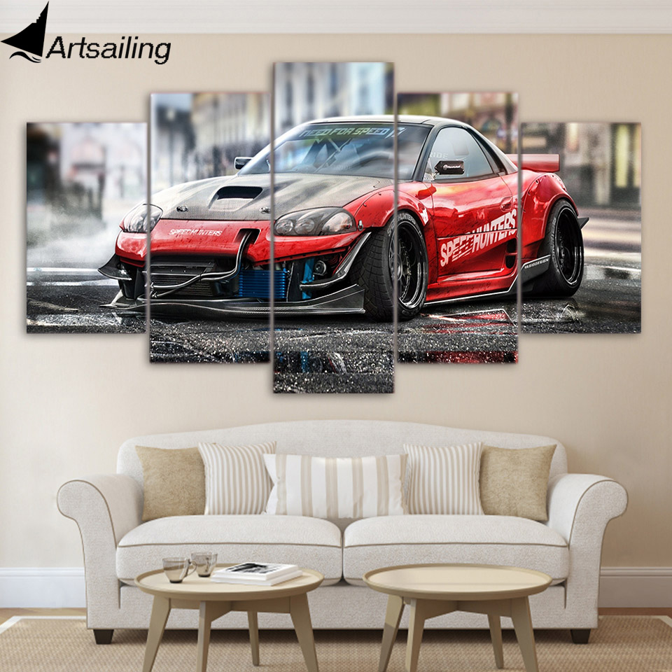 5 piece canvas painting red sports car HD posters and prints canvas painting for living room free shipping/XA-1789A