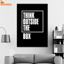 COLORFULBOY Modern Typography Think Quotes Canvas Painting Black White Wall Art Print Poster Pictures For Living Room Decor