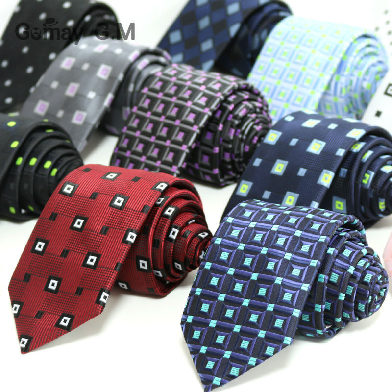 100% Polyester Jacquard Woven Plaid Ties For Men 7cm Width Classic Man's Necktie Formal Wedding Party Groom Neckties Wholesale