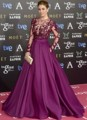2016 Purple A-line with Sheer Long Sleeves Beaded Appliques Celebrity Dresses Evening Dress Famous Red Carpet Dresses