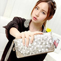 2016 designer new fashion women wallets famous luxury brand top quality pu leather lady purse hand long balck silver wallet
