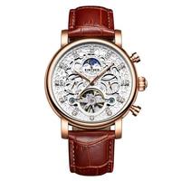 KINYUED Luxury Diamond Automatic Mechanical Watch Water Proof Self Wind Skeleton Man Business Wristwatch Chrono Genuine Leather