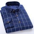 Otoño 2016 de Los Hombres Casuales de Manga Larga abotonada Camisa de Algodón A Cuadros Plaid Camisas Classic-fit Unelastic Suave para la Ropa de Trabajo
