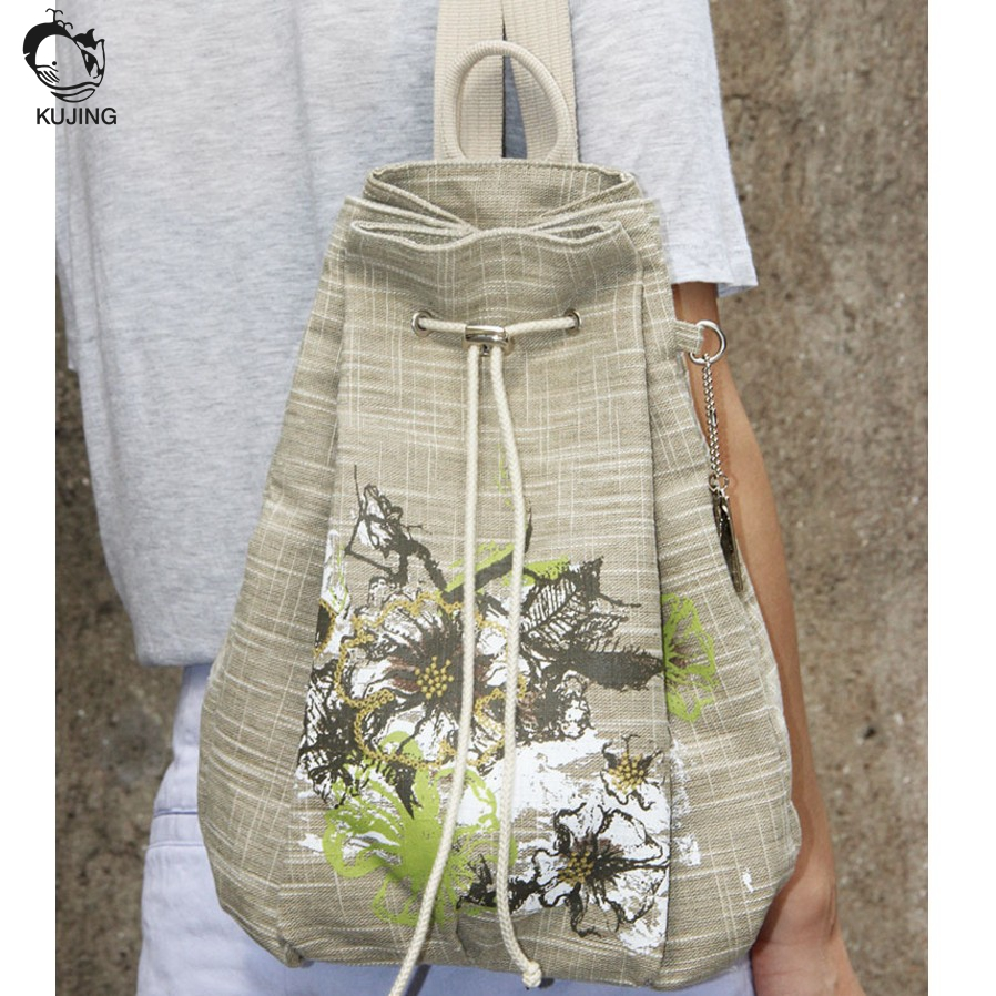 KUJING female backpack high quality wear national wind shoulder bag embroidery weaving draw high – end leisure backpack