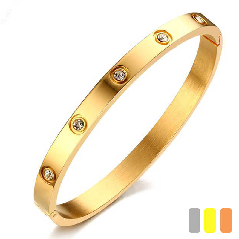 2018 Trendy Crystal Bracelets for Women Silver Gold Rose Bangle Bracelet Titanium Love Pulseiras Stainless Steel Bangles Jewelry