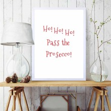 Quote Print Ho Pass The Prosecco Funny Christmas Wall Art Paintings For Kids Room Home Accessories