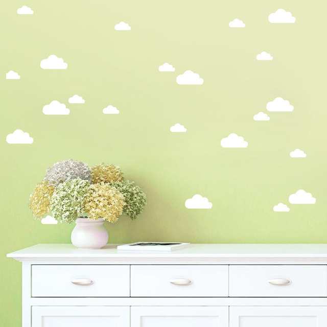 White Clouds Wall Stickers Removable DIY Vinyl Baby Wall Art Decal ...