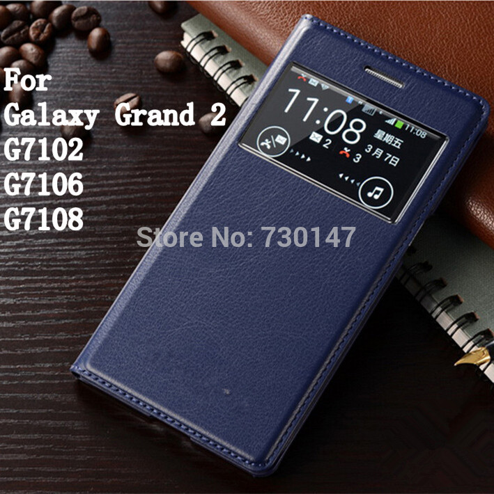 For <font><b>Samsung</b></font> Galaxy <font><b>Grand</b></font> <font><b>2</b></font> Duos G7100 <font><b>G7102</b></font> G7106 G7105 G7108 G7109 G710S view Window Leather Flip Back Battery Cover <font><b>Case</b></font> image