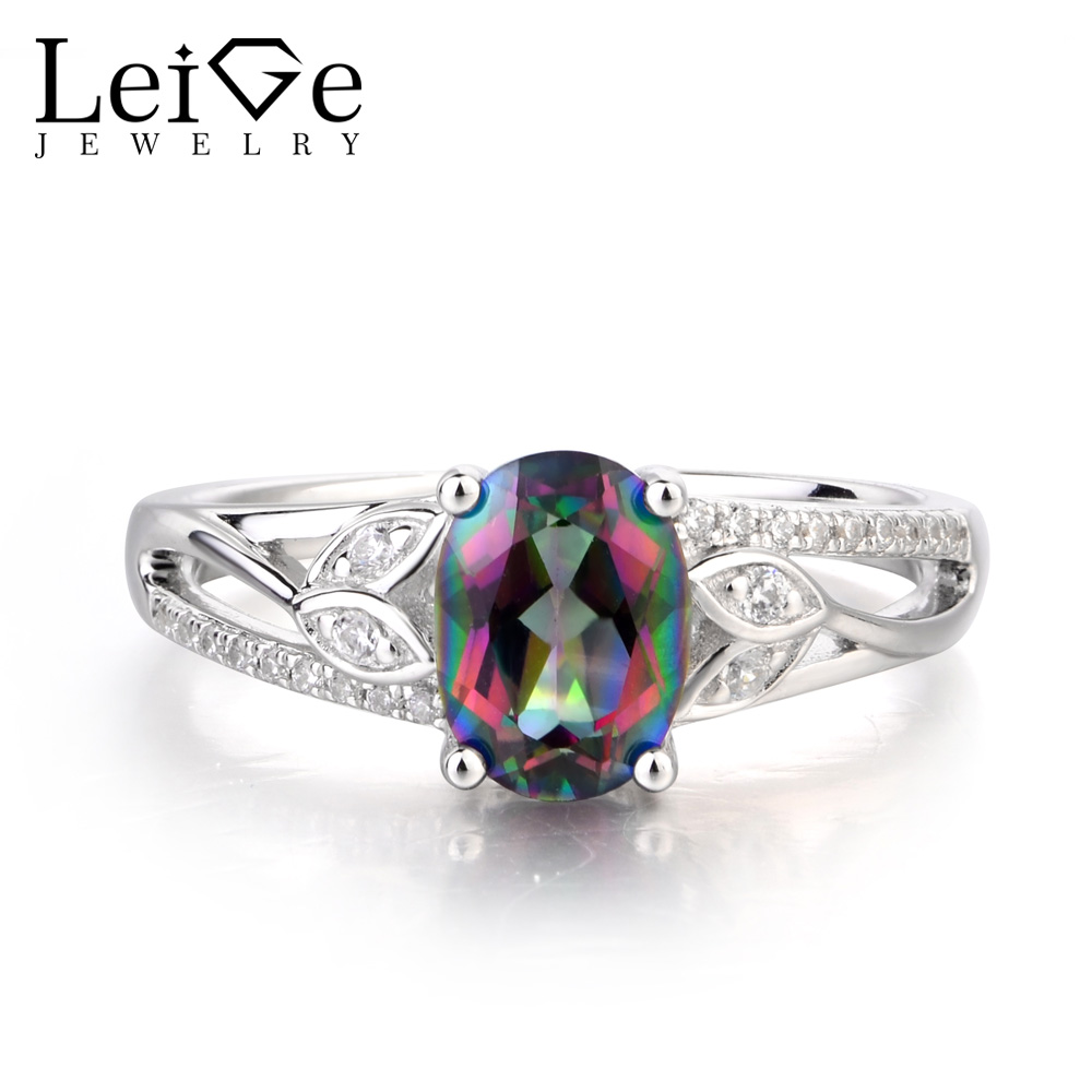 Leige Jewelry Mystic Topaz Ring Oval Cut Rainbow Topaz Ring Wedding Ring Rainbow Gemstone Genuine 925 Sterling Silver for HerLeige Jewelry Mystic Topaz Ring Oval Cut Rainbow Topaz Ring Wedding Ring Rainbow Gemstone Genuine 925 Sterling Silver for Her
