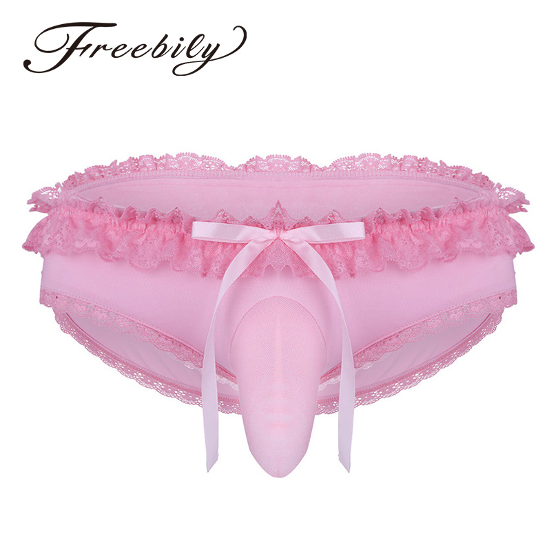 Men's Lingerie Frilly Lace Low Rise Sissy Briefs With Front Bulge Pouch Lightweight Cross-dress Bikini Briefs Underwear Panties