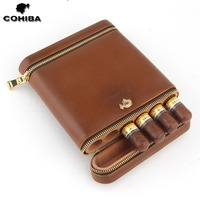 COHIBA Cedar Wood Travel Humidor Cigar Leather Case Portable 6 Tubes W/ Cigar Humidifier Cigar Humidor Box Outdoor