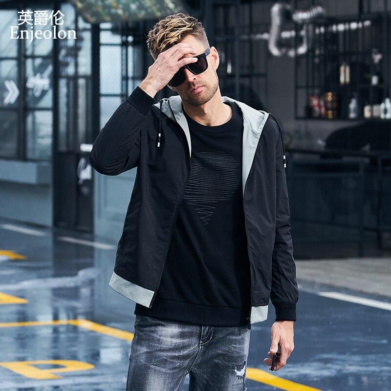 Erkek Kıyafeti'ten Ceketler'de Enjeolon marka hoodies Bombacı ceketler ceket erkekler moda siyah katı Erkek ceketi 3XL palto kapşonlu yaka ceket caot JK2601'da  Grup 1